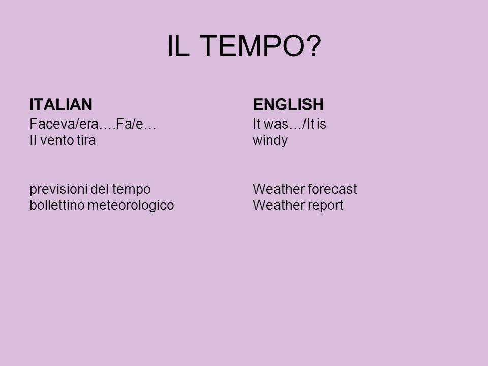 IL TEMPO ITALIAN ENGLISH