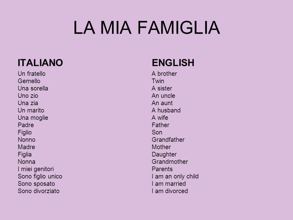 LA MIA FAMIGLIA ITALIANO ENGLISH