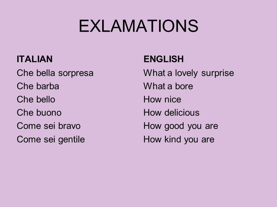 EXLAMATIONS ITALIAN ENGLISH