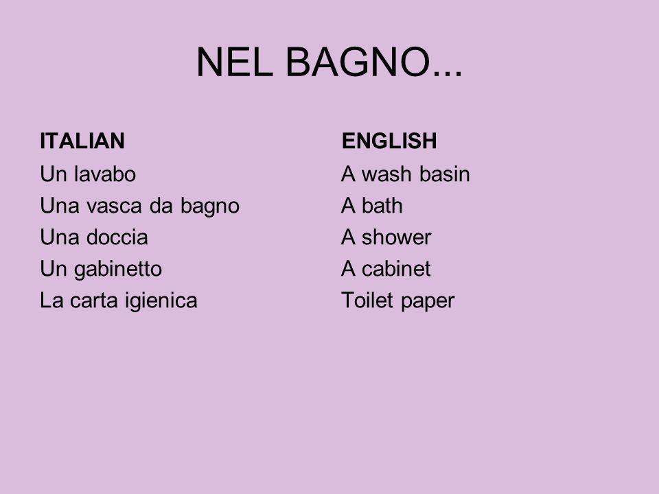 NEL BAGNO... ITALIAN ENGLISH