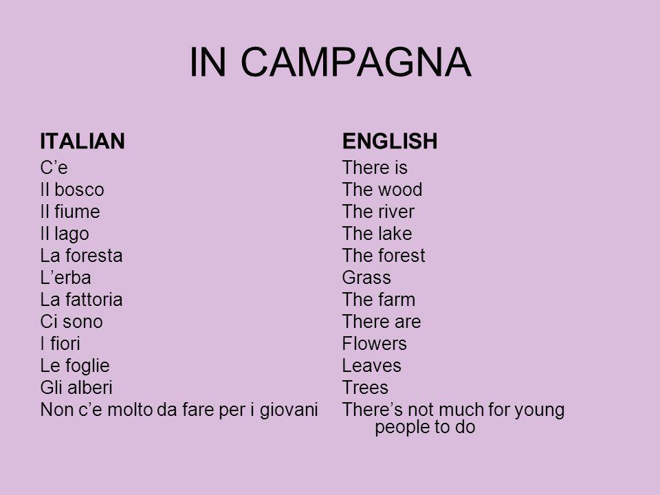 IN CAMPAGNA ITALIAN ENGLISH