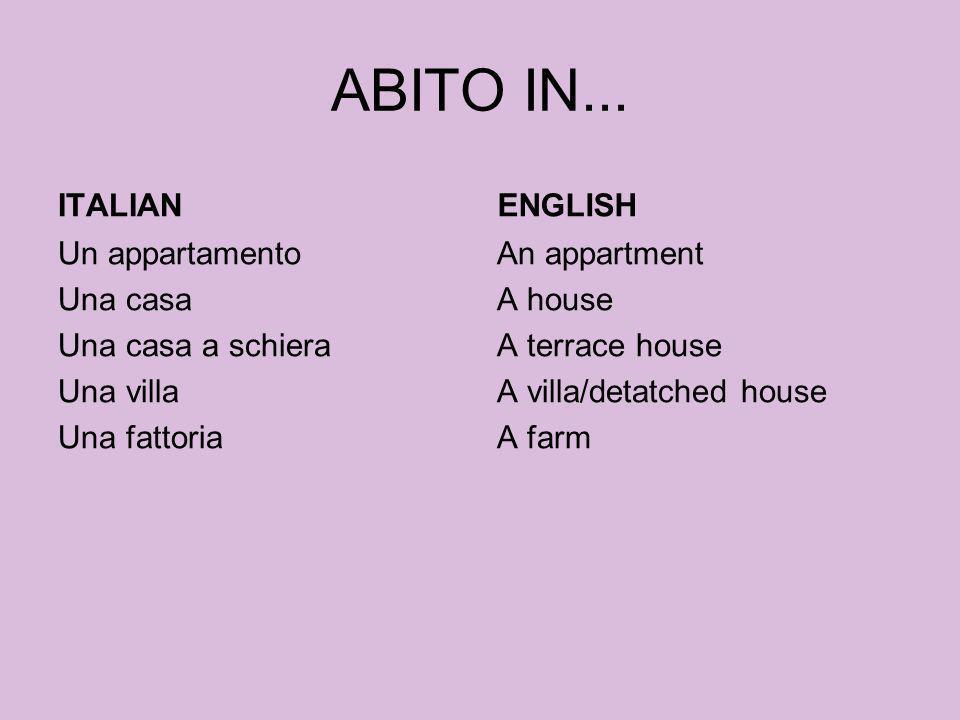 ABITO IN... ITALIAN ENGLISH