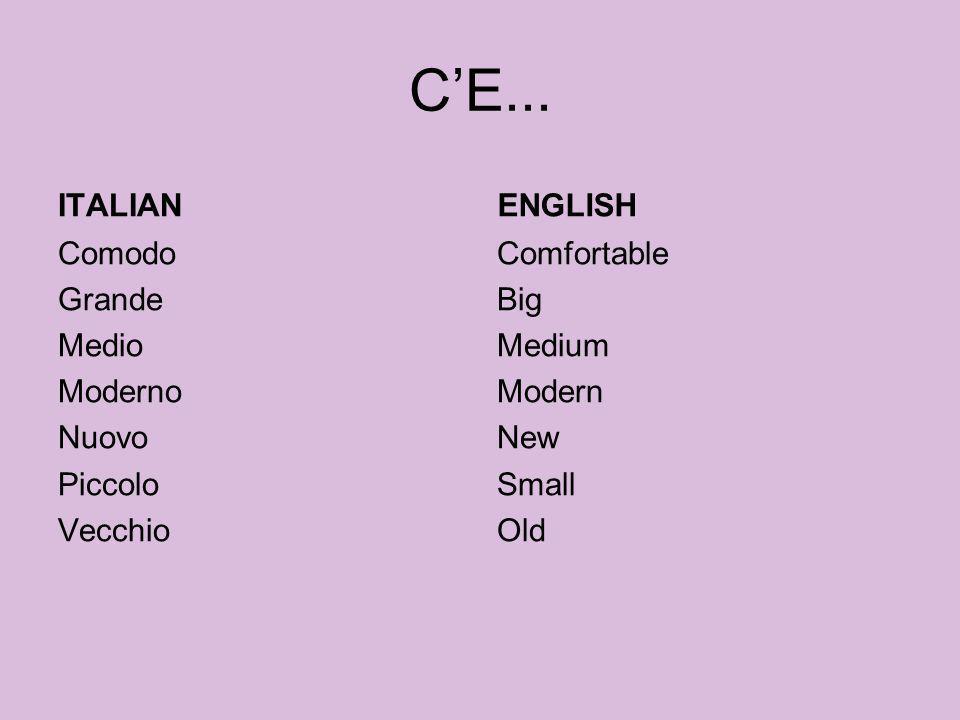 C'E... ITALIAN. ENGLISH.
