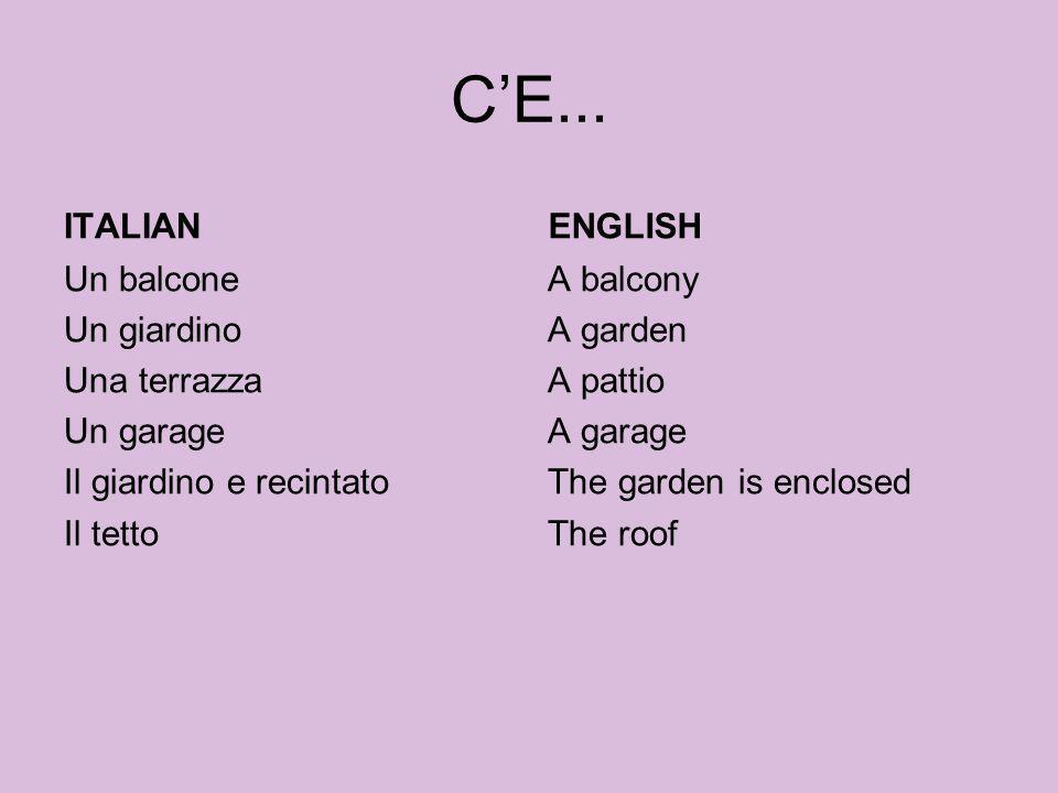 C'E...ITALIAN. ENGLISH. Un balcone Un giardino Una terrazza Un garage Il giardino e recintato Il tetto