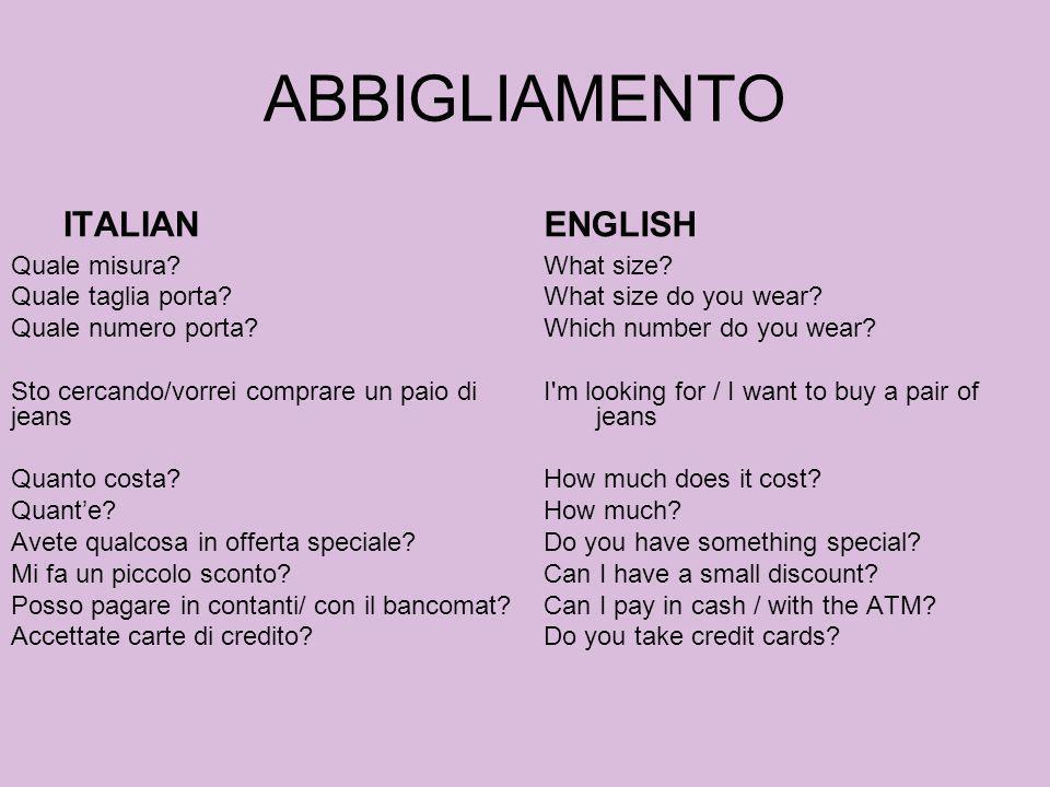 ABBIGLIAMENTO ITALIAN ENGLISH