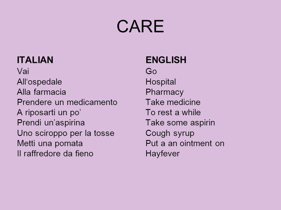 CAREITALIAN. ENGLISH.