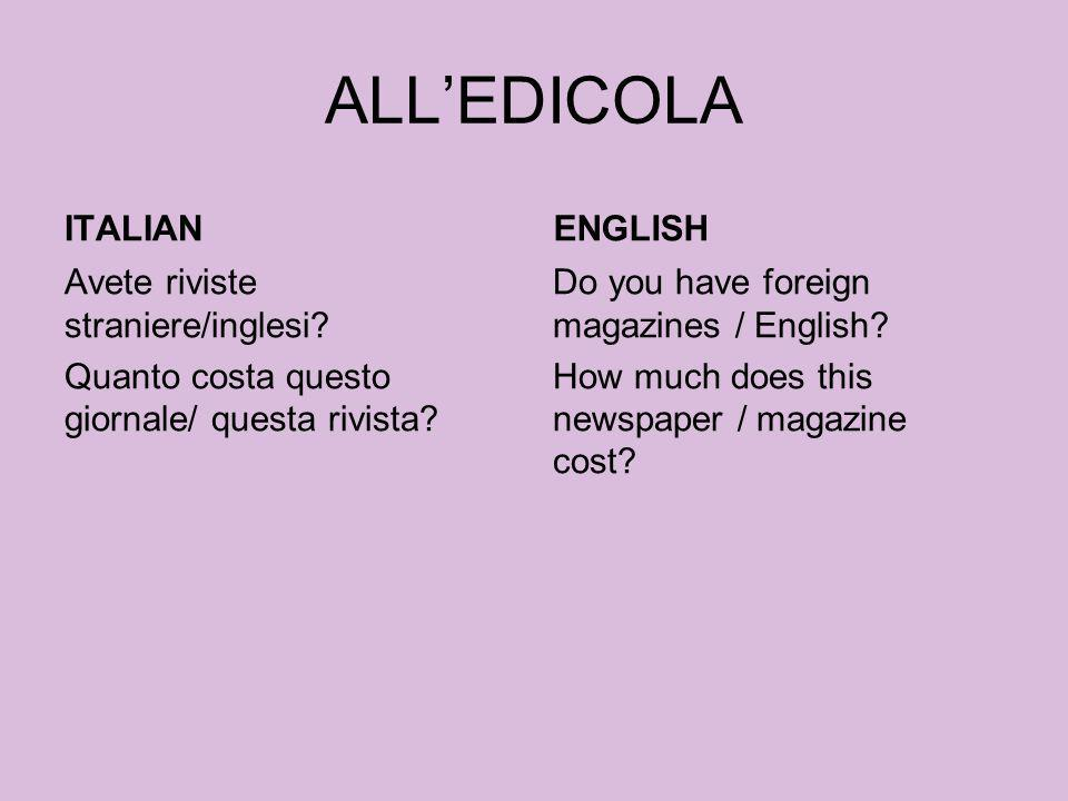 ALL'EDICOLA ITALIAN ENGLISH