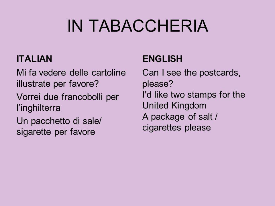 IN TABACCHERIA ITALIAN ENGLISH