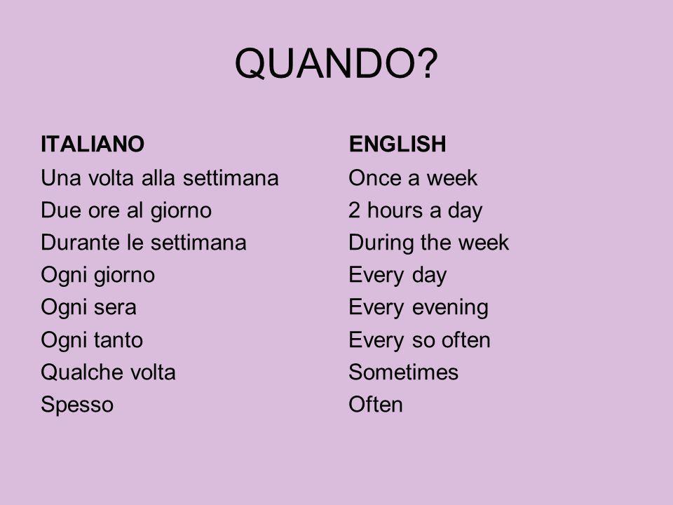 QUANDO ITALIANO ENGLISH