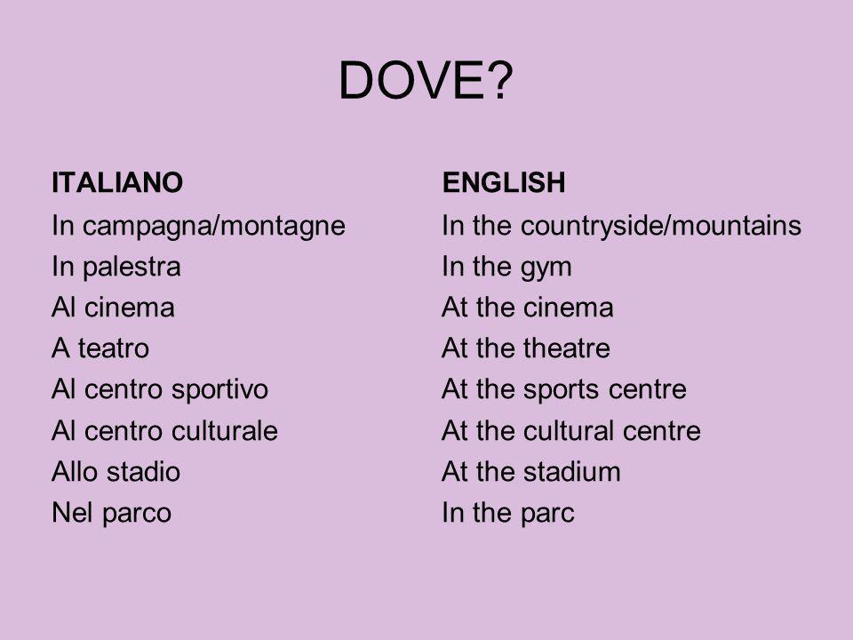 DOVE ITALIANO. ENGLISH. In campagna/montagne In palestra Al cinema A teatro Al centro sportivo Al centro culturale Allo stadio Nel parco