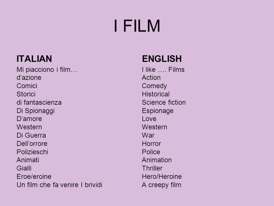 I FILM ITALIAN. ENGLISH.