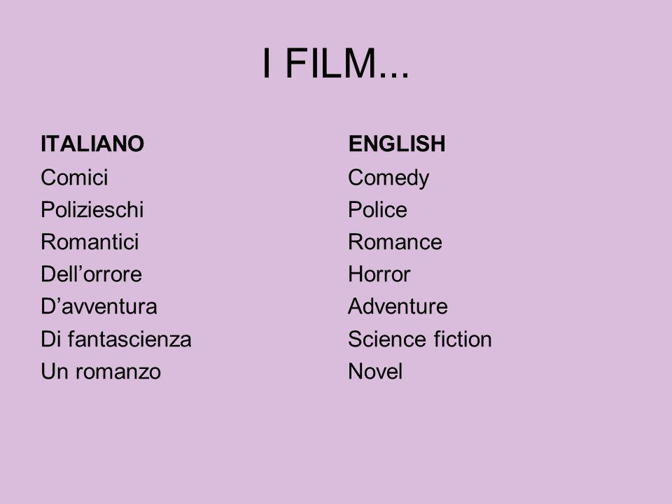 I FILM... ITALIANO ENGLISH