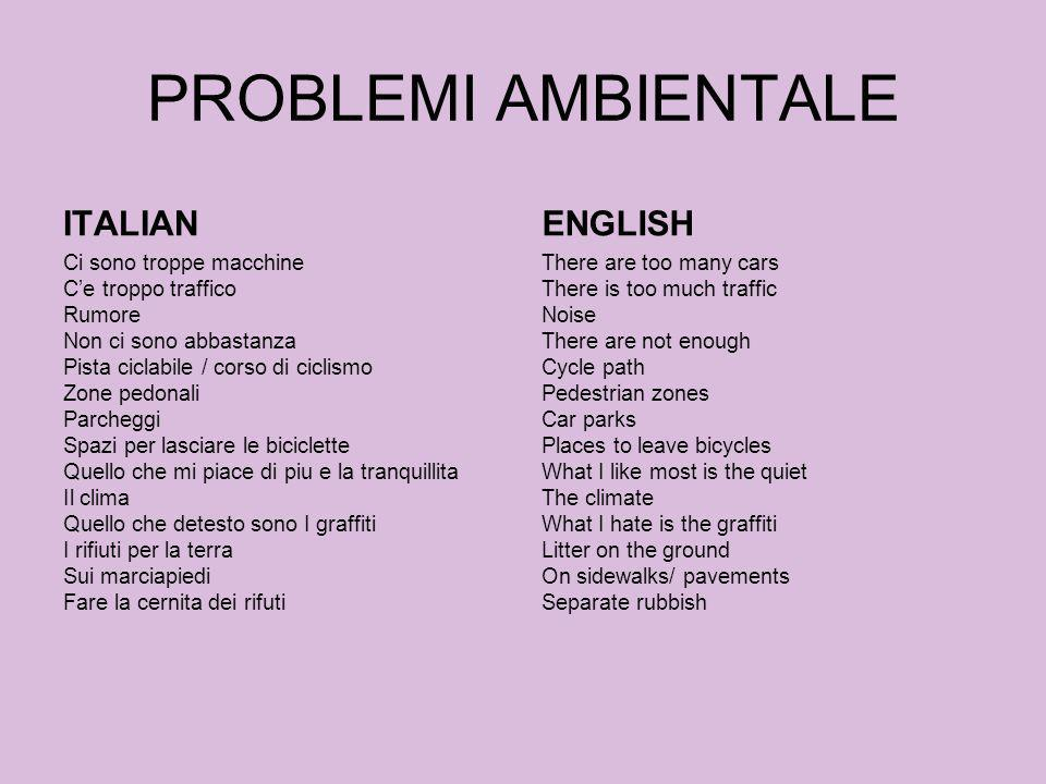 PROBLEMI AMBIENTALE ITALIAN ENGLISH