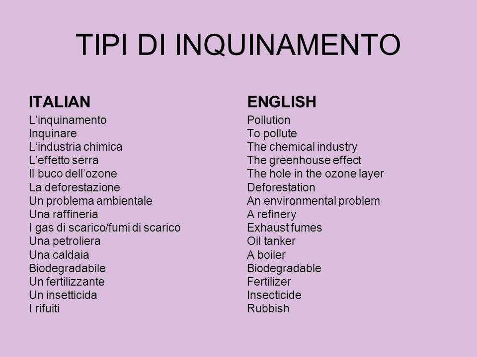 TIPI DI INQUINAMENTO ITALIAN ENGLISH