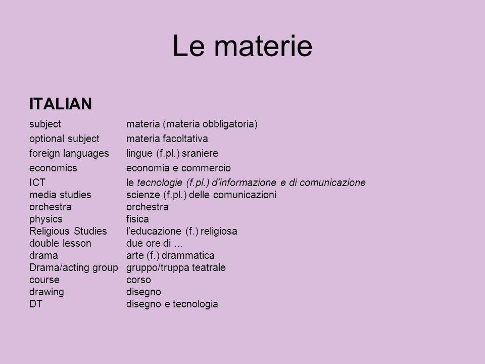Le materie ITALIAN subject materia (materia obbligatoria)