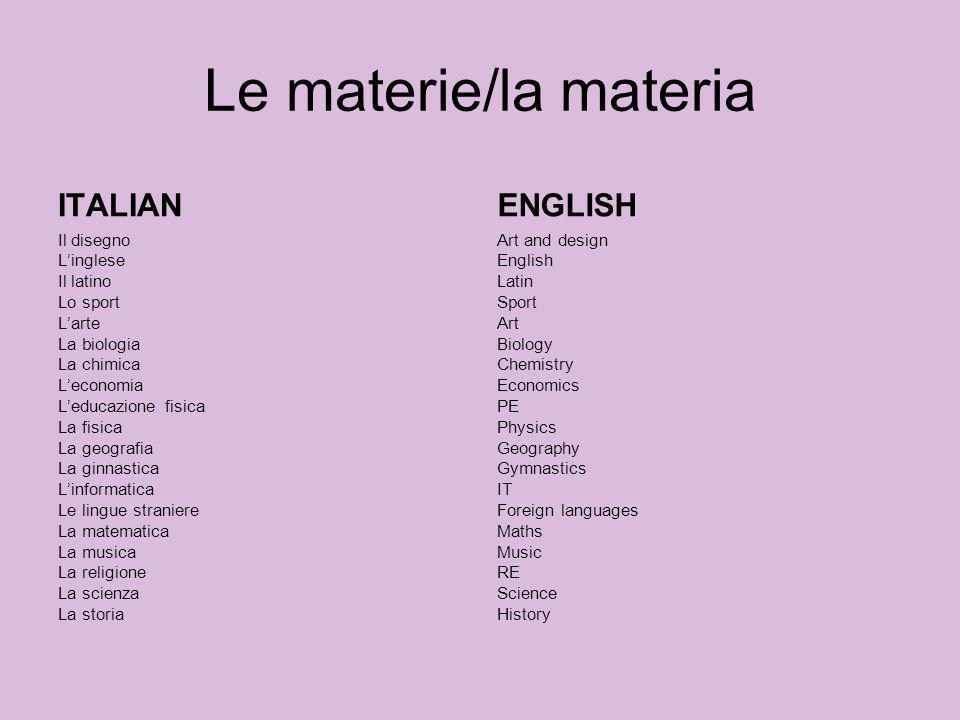 Le materie/la materia ITALIAN ENGLISH