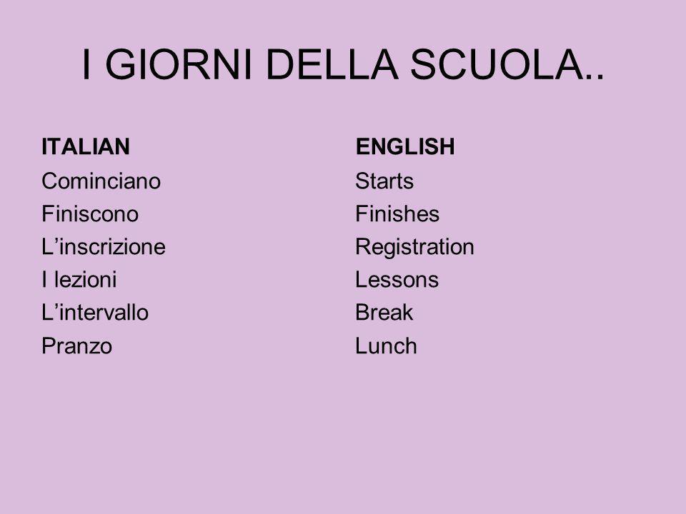 I GIORNI DELLA SCUOLA.. ITALIAN ENGLISH
