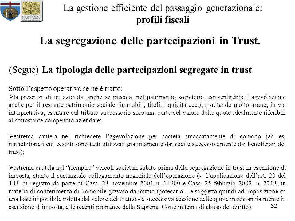 La segregazione delle partecipazioni in Trust.