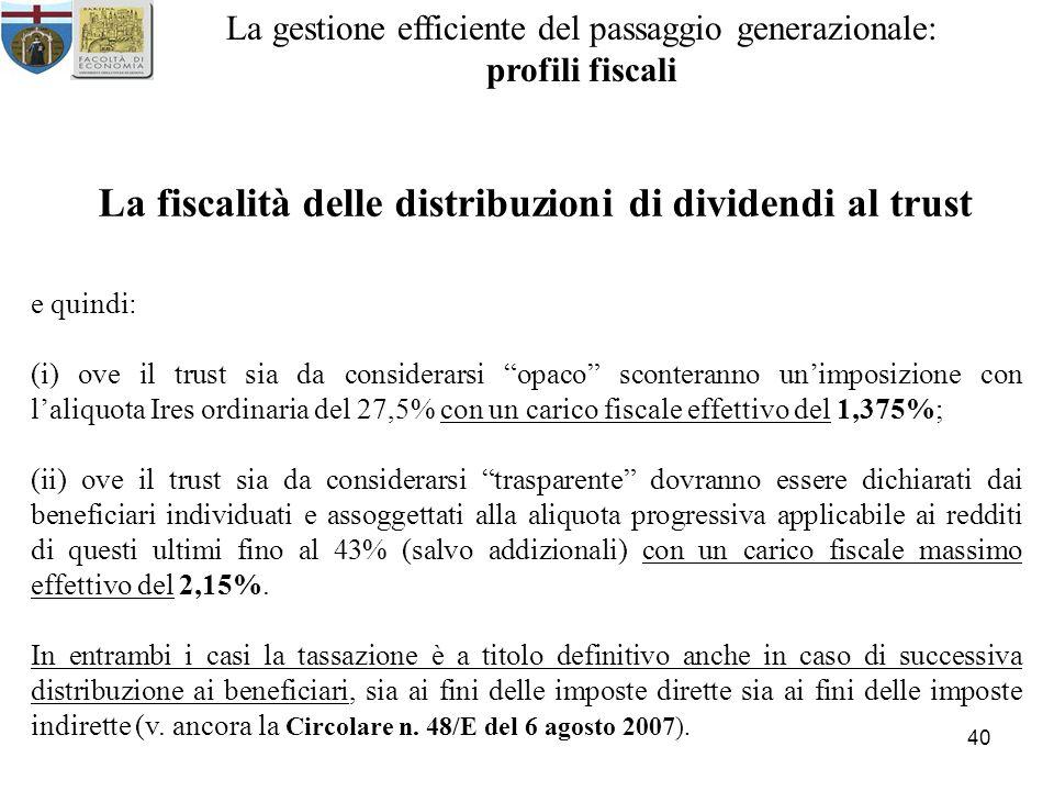 La fiscalità delle distribuzioni di dividendi al trust