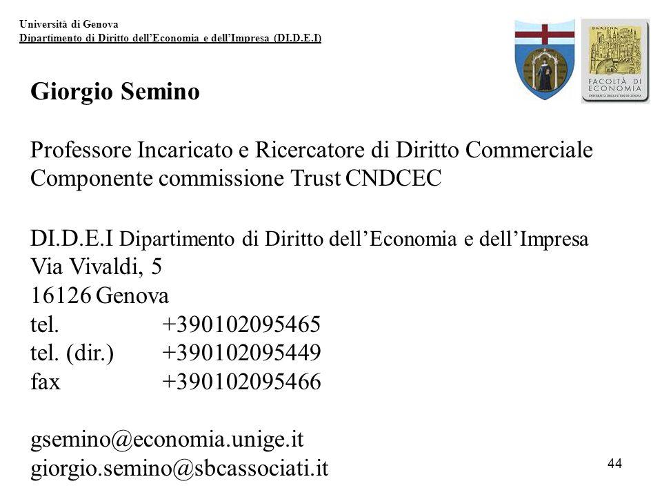 Università di Genova Dipartimento di Diritto dell'Economia e dell'Impresa (DI.D.E.I) Giorgio Semino.