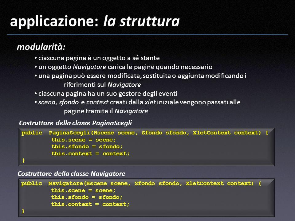 applicazione: la struttura