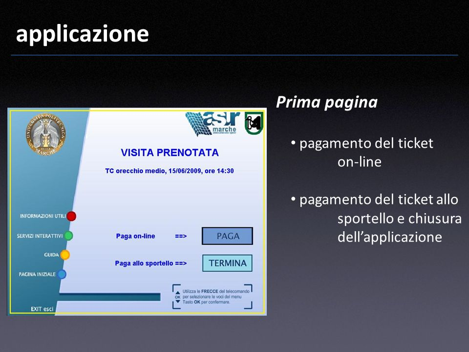 applicazione Prima pagina pagamento del ticket on-line