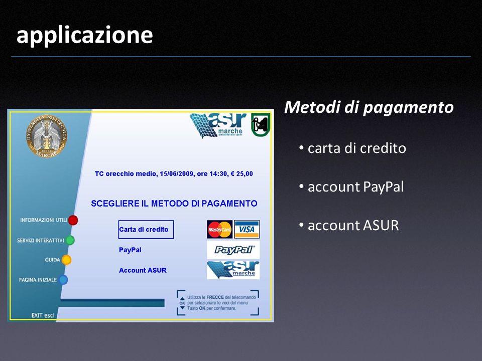applicazione Metodi di pagamento carta di credito account PayPal