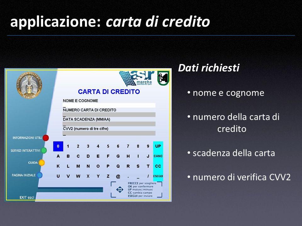 applicazione: carta di credito