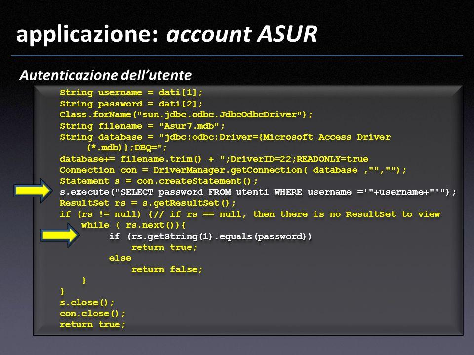 applicazione: account ASUR