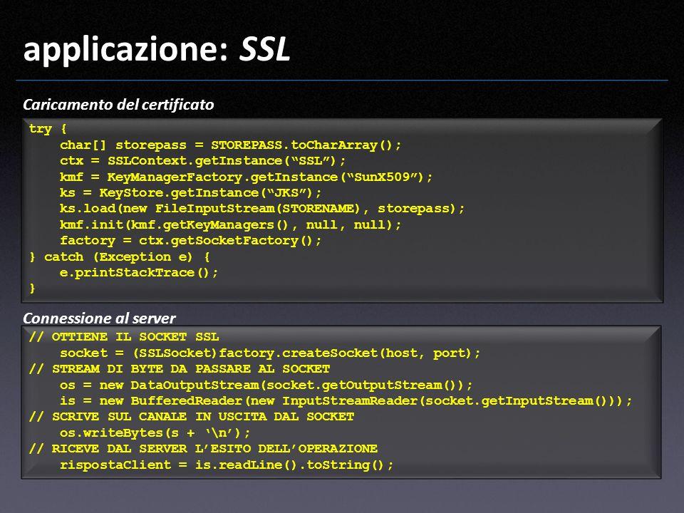 applicazione: SSL Caricamento del certificato Connessione al server