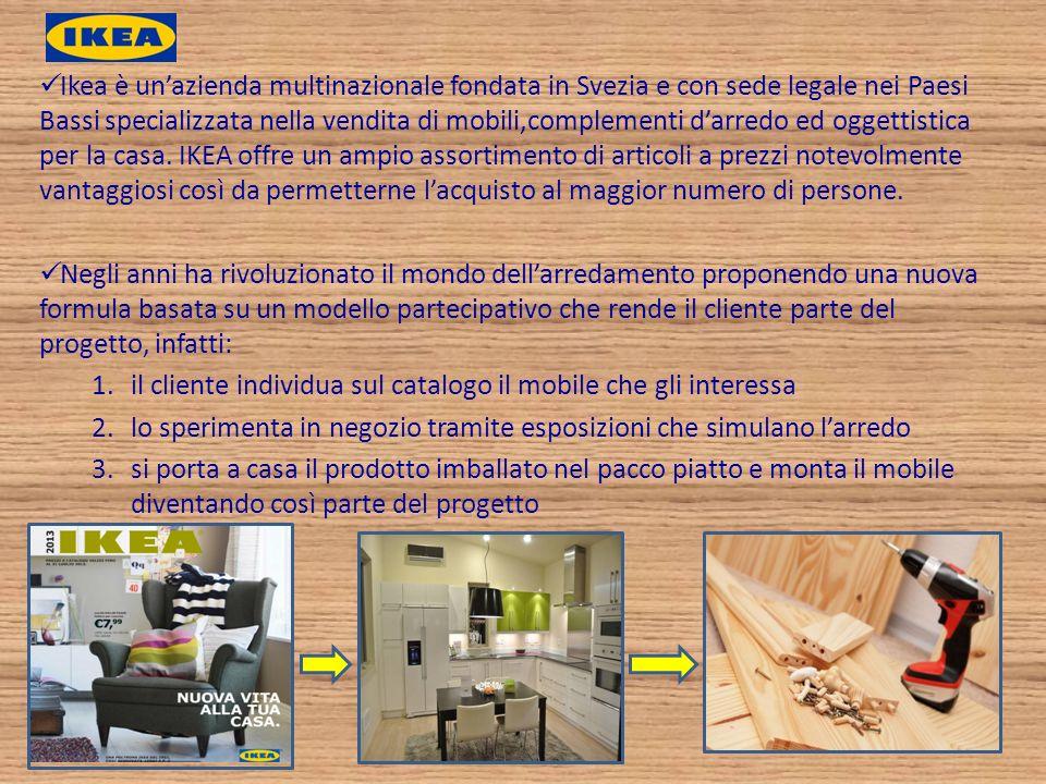 Ikea è un'azienda multinazionale fondata in Svezia e con sede legale nei Paesi Bassi specializzata nella vendita di mobili,complementi d'arredo ed oggettistica per la casa. IKEA offre un ampio assortimento di articoli a prezzi notevolmente vantaggiosi così da permetterne l'acquisto al maggior numero di persone.