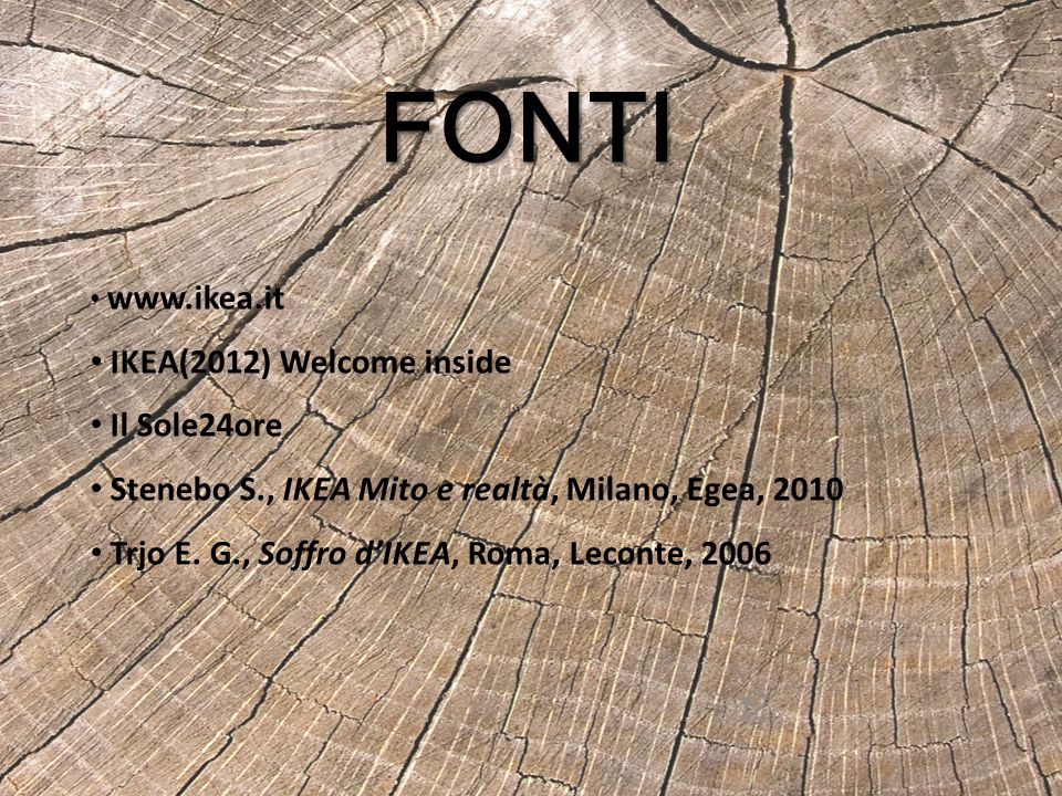 FONTI IKEA(2012) Welcome inside Il Sole24ore