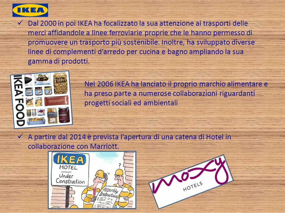 Dal 2000 in poi IKEA ha focalizzato la sua attenzione ai trasporti delle merci affidandole a linee ferroviarie proprie che le hanno permesso di promuovere un trasporto più sostenibile. Inoltre, ha sviluppato diverse linee di complementi d'arredo per cucina e bagno ampliando la sua gamma di prodotti.