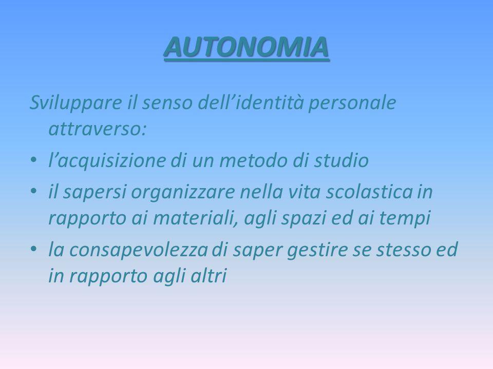 AUTONOMIA Sviluppare il senso dell'identità personale attraverso: