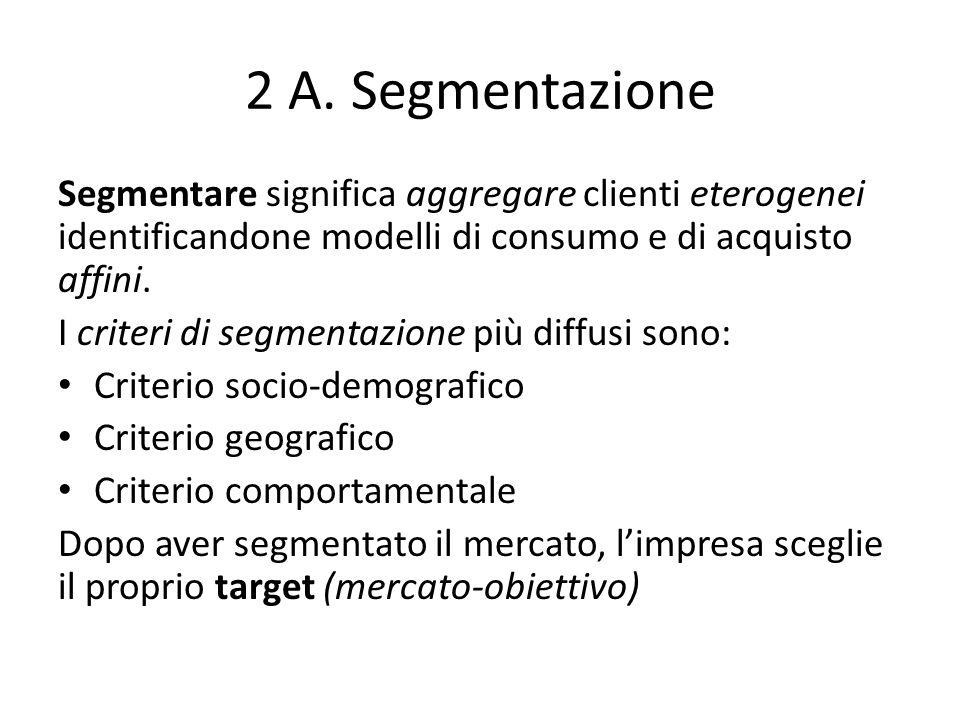 2 A. Segmentazione Segmentare significa aggregare clienti eterogenei identificandone modelli di consumo e di acquisto affini.