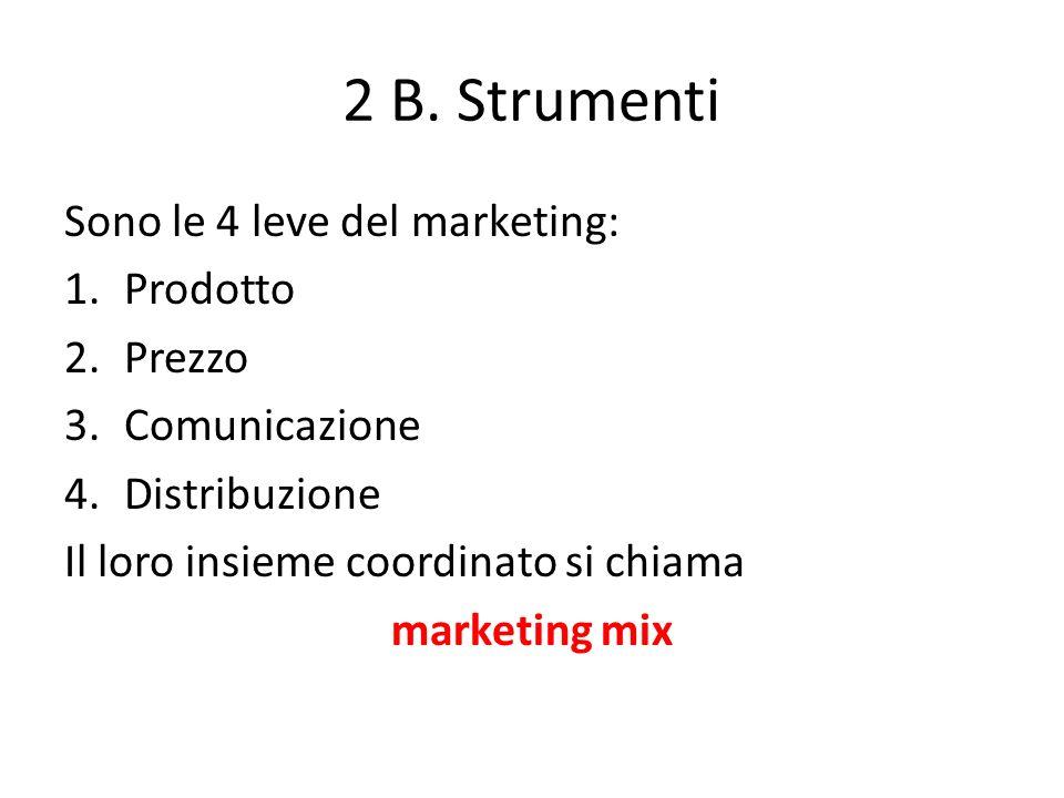 2 B. Strumenti Sono le 4 leve del marketing: Prodotto Prezzo