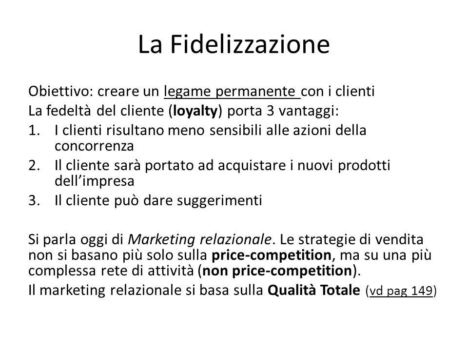 La Fidelizzazione Obiettivo: creare un legame permanente con i clienti