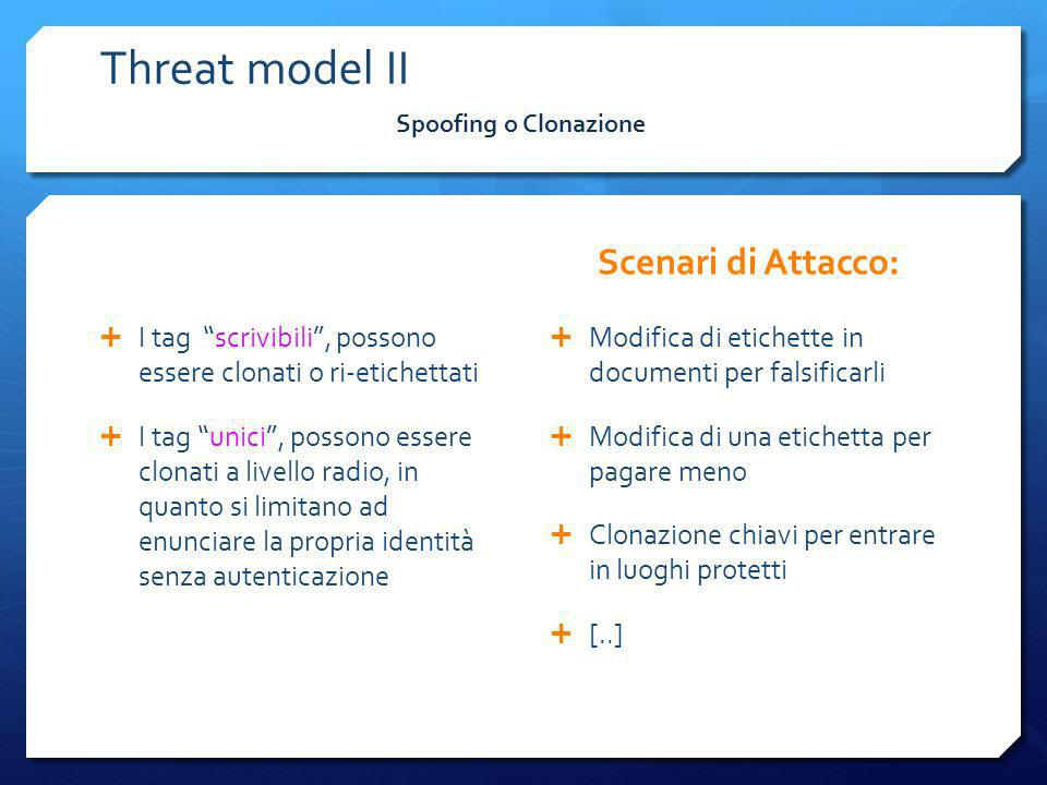 Threat model II Scenari di Attacco: