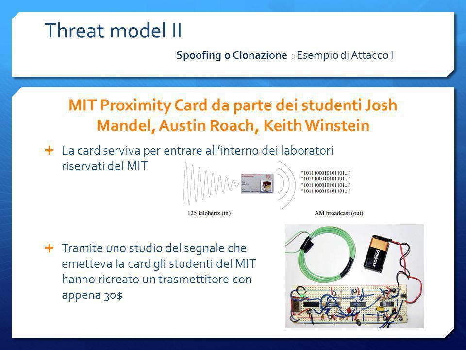 Threat model II Spoofing o Clonazione : Esempio di Attacco I. MIT Proximity Card da parte dei studenti Josh Mandel, Austin Roach, Keith Winstein.