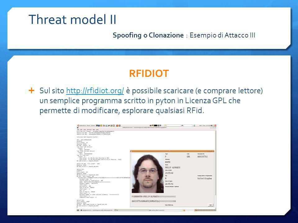 Threat model II RFIDIOT