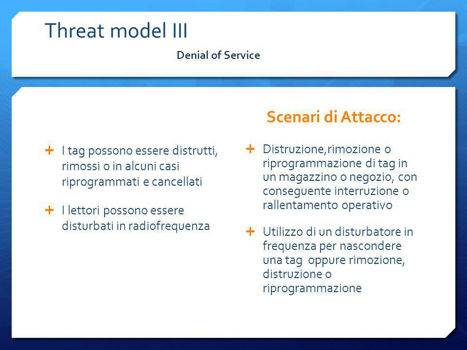 Threat model III Scenari di Attacco: