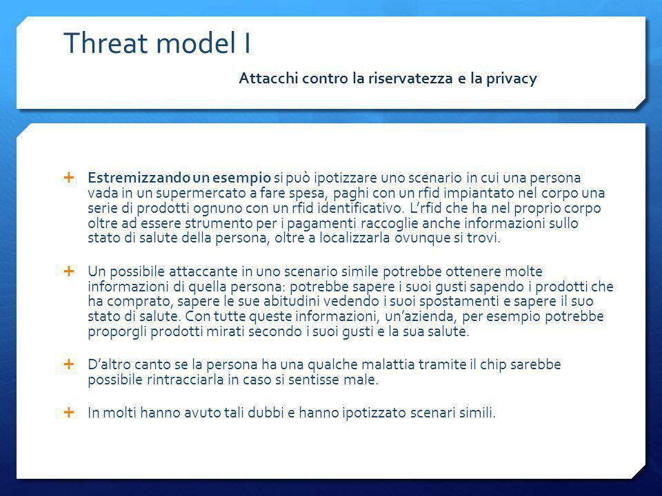 Threat model I Attacchi contro la riservatezza e la privacy