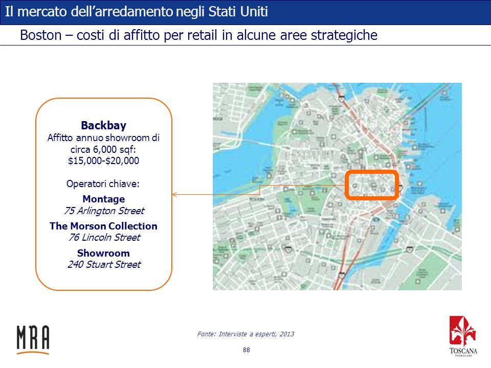 Boston – costi di affitto per retail in alcune aree strategiche