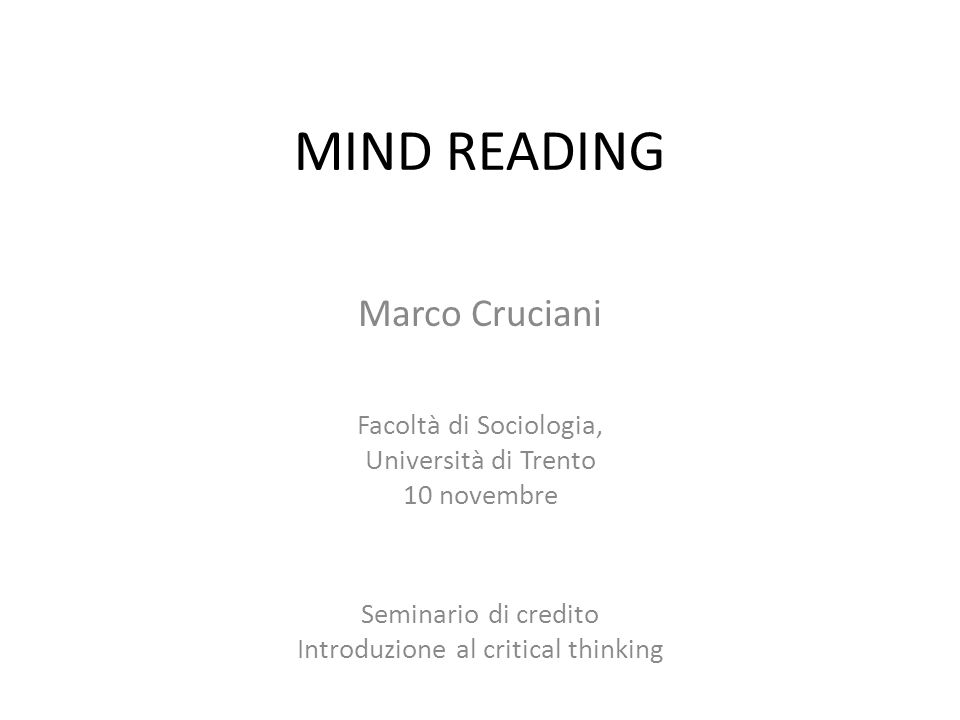 Introduzione al critical thinking