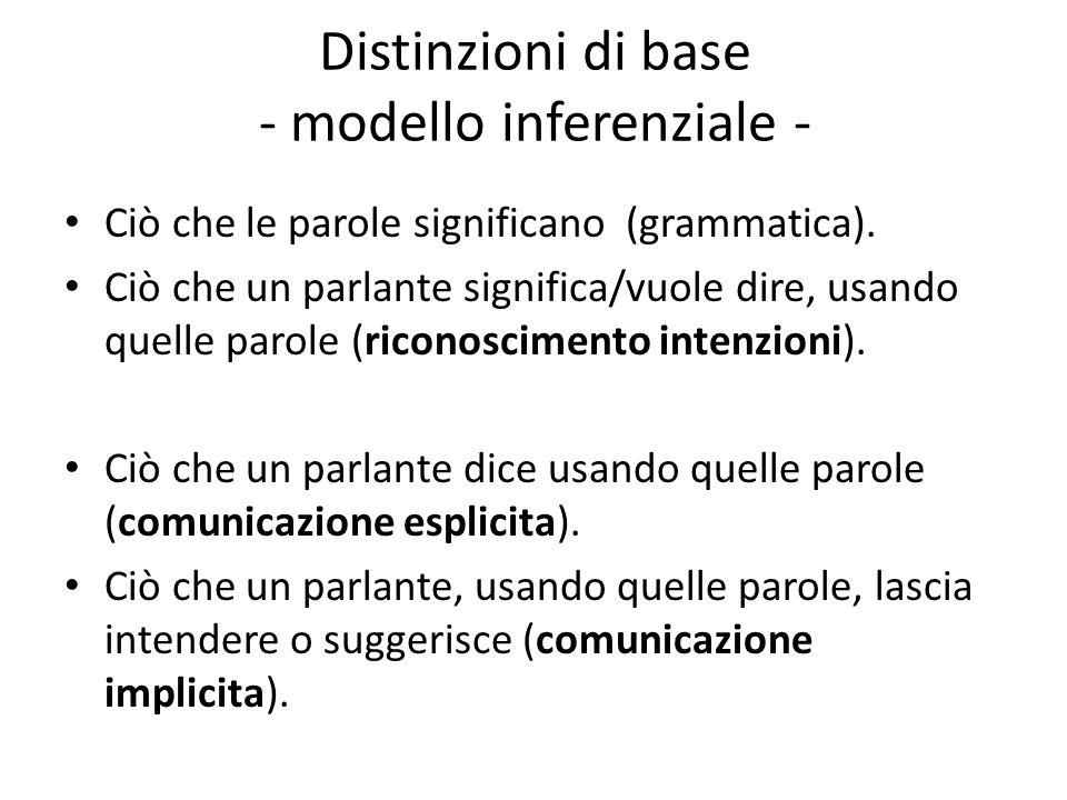 Distinzioni di base - modello inferenziale -