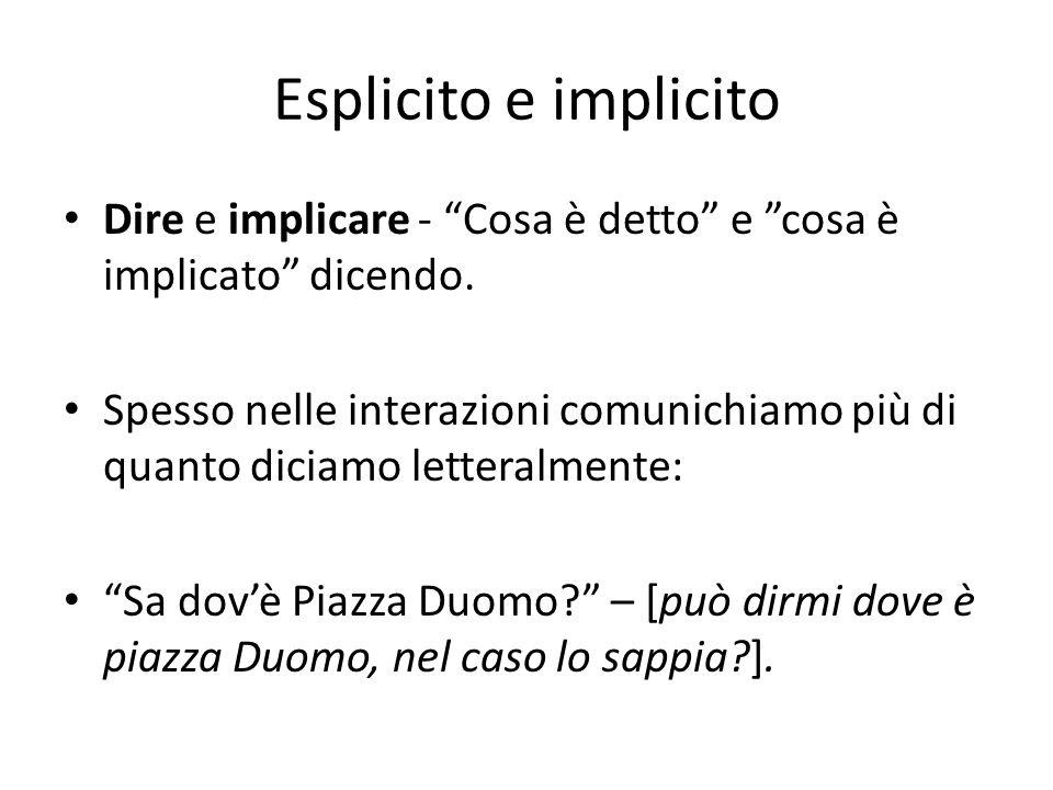 Esplicito e implicito Dire e implicare - Cosa è detto e cosa è implicato dicendo.