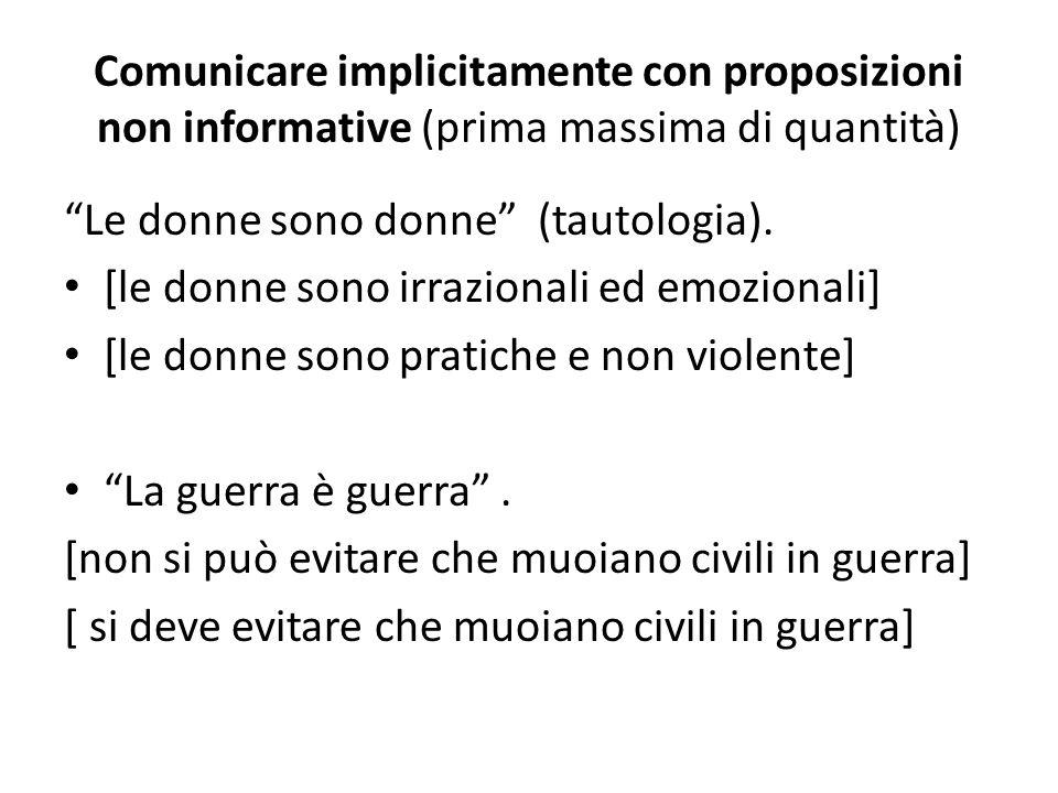 Comunicare implicitamente con proposizioni non informative (prima massima di quantità)