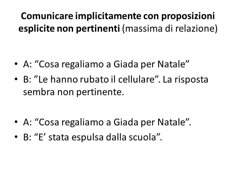 Comunicare implicitamente con proposizioni esplicite non pertinenti (massima di relazione)
