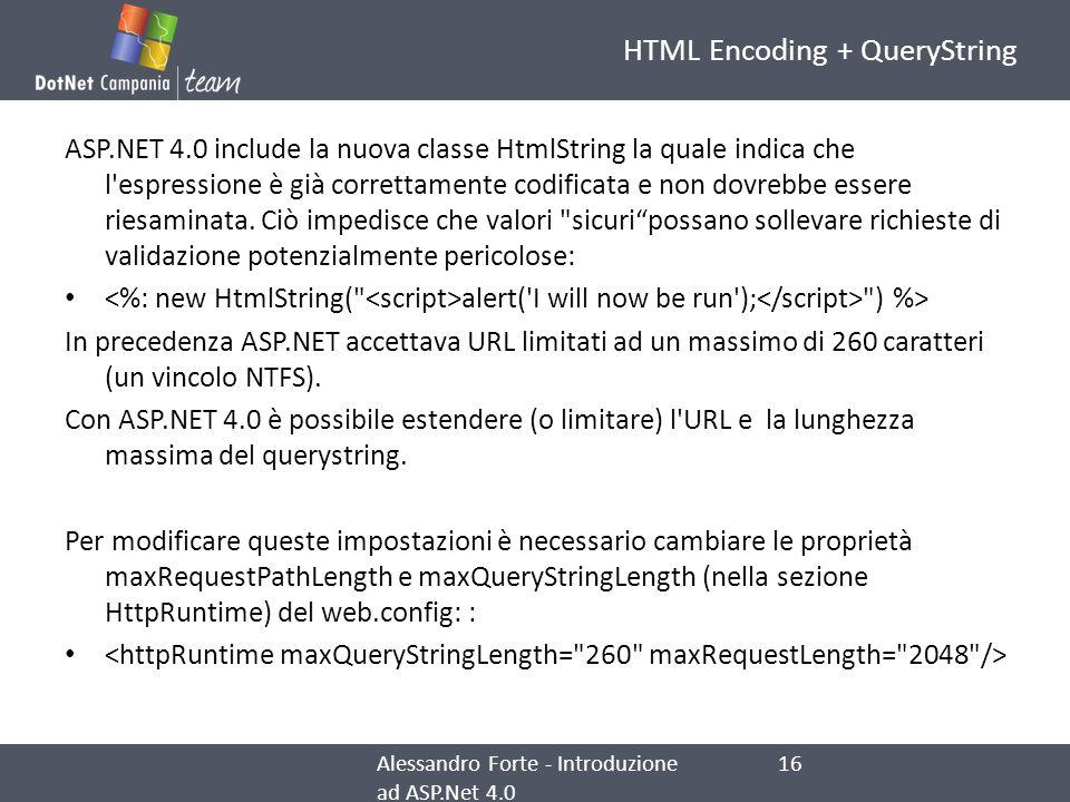HTML Encoding + QueryString