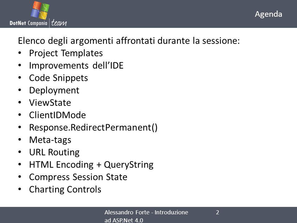 Elenco degli argomenti affrontati durante la sessione: